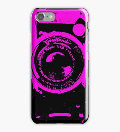 alte Kamera - old camera - black pink- Plattenkamera - schwarz pink iPhone Case/Skin