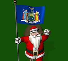 Santa Claus With Flag Of New York by Mythos57