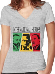 INTERNATIONAL HEROES Women's Fitted V-Neck T-Shirt