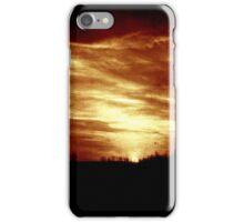vintage sunset/sunrise over forest iPhone Case/Skin
