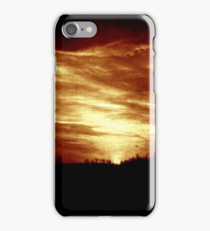vintage sunset/sunrise over forest iPhone Case/Skin