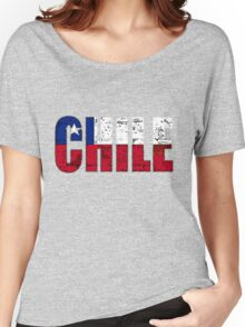 Chile Font with Chilean Flag Women's Relaxed Fit T-Shirt