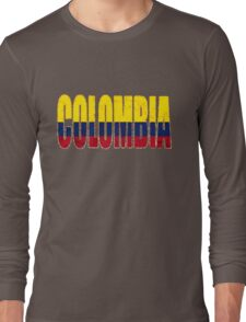 Colombia Font with Colombian Flag Long Sleeve T-Shirt