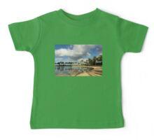 Tropical Beach Joy - Lagoon Shadows and Reflections of Palm Trees Baby Tee