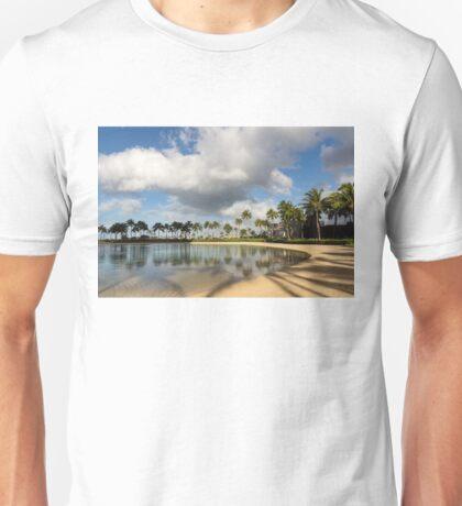 Tropical Beach Joy - Lagoon Shadows and Reflections of Palm Trees Unisex T-Shirt