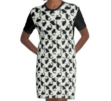 Cartoon pattern with cute black cats Graphic T-Shirt Dress