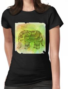 Watercolor Indian Elephant Womens Fitted T-Shirt