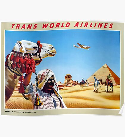 Vintage Trans World Airlines Camel and Pyramids Poster