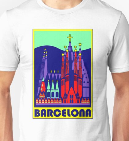 GAUDI CATHEDRAL; Vintage Abstract Advertising Print Unisex T-Shirt
