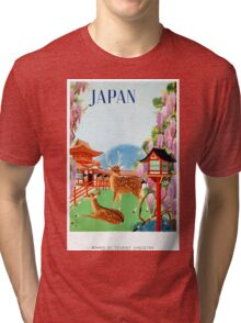 Vintage Japan Temple Travel Poster Tri-blend T-Shirt