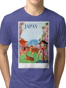Vintage Japan Temple Travel Poster Tri-blend T-Shirt