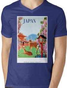 Vintage Japan Temple Travel Poster Mens V-Neck T-Shirt
