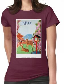 Vintage Japan Temple Travel Poster Womens Fitted T-Shirt