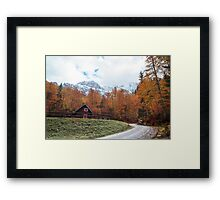 autumn sunset in the alpine valley Framed Print
