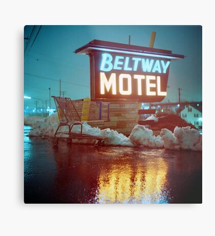 Evening at the Beltway Motel Metal Print