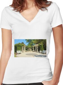 Tranquility Garden Women's Fitted V-Neck T-Shirt