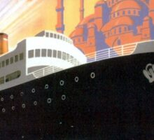 Vintage Greece and Istanbul Ocean Liner Travel Sticker
