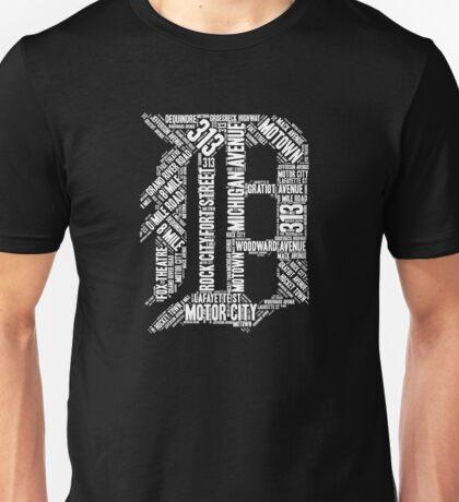 "Love Detroit ""D"" with Street Names D Outline Shirt Graphic Unisex T-Shirt"