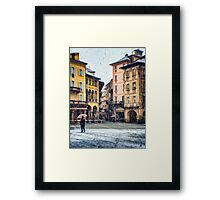 Italian square and snow Framed Print
