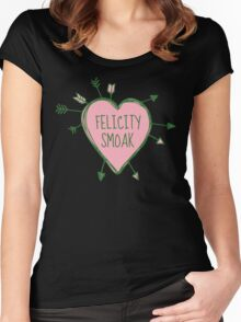 Felicity Smoak - Heart with Green Arrows Doodle Women's Fitted Scoop T-Shirt