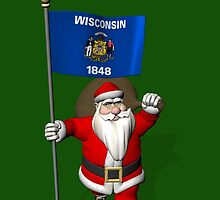 Santa Claus With Flag Of Wisconsin by Mythos57