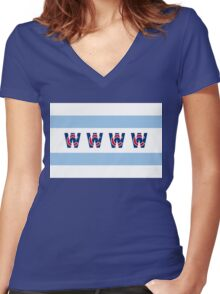 Cubs Win Chicago Flag Women's Fitted V-Neck T-Shirt