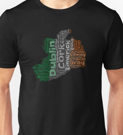 Ireland Irish Outline Flag Color Graphic Design With Cities Unisex T-Shirt