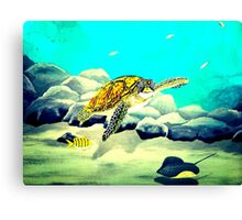 Colorful Sea Turtle In The Blue Ocean Painting  Canvas Print