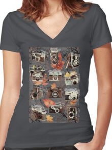Vintage cameras ( Autumn ) Women's Fitted V-Neck T-Shirt