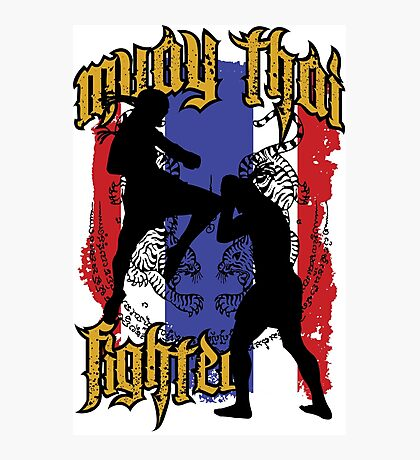 muay thai fighter flag Photographic Print