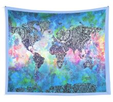 world map mandala 5 Wall Tapestry