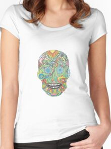 Day of the Dead Skull Women's Fitted Scoop T-Shirt