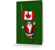 Santa Claus With Flag Of Canada Greeting Card