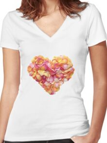 Heart of the rose petals Women's Fitted V-Neck T-Shirt