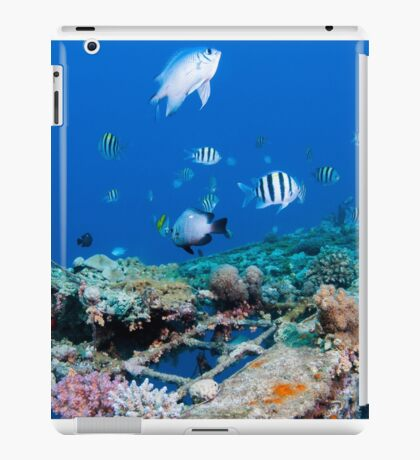 fish and scuba diver at a coral reef, Photographed at 10m, Red Sea, Eilat, Israel  iPad Case/Skin