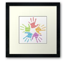 Girls hands word cloud Framed Print