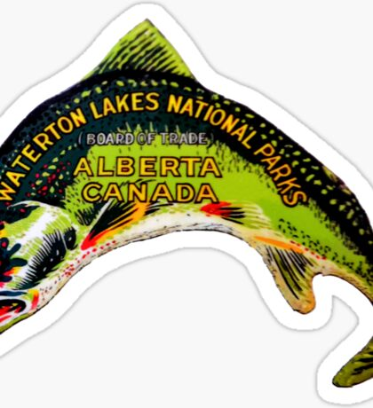 Waterton Lakes National Park Alberta Vintage Travel Decal Sticker