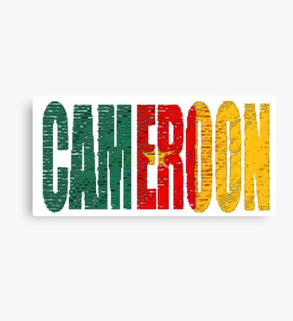 Cameroon Font with Flag Canvas Print