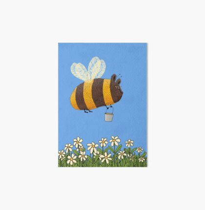 Bumble Bear with honey flies home Art Board