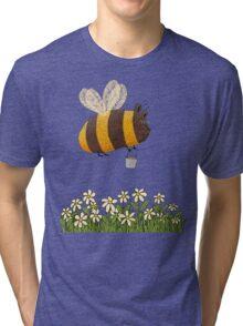 Bumble Bear with honey flies home Tri-blend T-Shirt