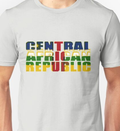 Central African Republic Font with Flag Unisex T-Shirt