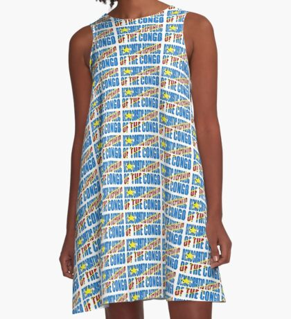 Democratic Republic of the Congo Font with Flag A-Line Dress