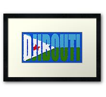 Djibouti Font with Flag Framed Print
