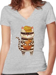 Catburglar Women's Fitted V-Neck T-Shirt