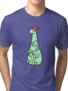 christmas Dinosaur Tri-blend T-Shirt