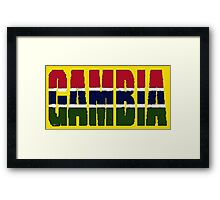Gambia Font with Gambian Flag Framed Print
