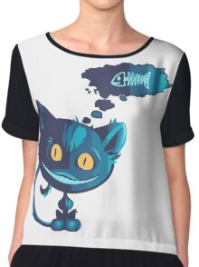 Creepy cat likes fish Chiffon Top