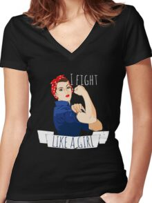 i fight like a girl  Women's Fitted V-Neck T-Shirt