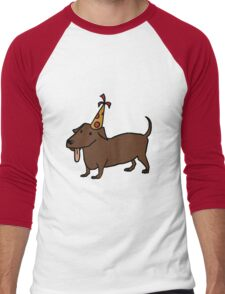 Dogs with Party Hats - Dachshund Men's Baseball ¾ T-Shirt