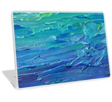 Abstract Painting in Blue and Green, thick paint Laptop Skin